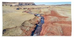 creek at  Colorado foothills - aerial view Beach Towel