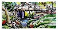 Creek Bed And Bridge Beach Towel by Terry Banderas