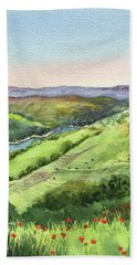 Beach Towel featuring the painting Creek In The Hills Watercolor Landscape  by Irina Sztukowski