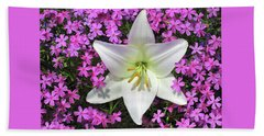 Beach Towel featuring the photograph Creeping Fuchsia Phlox With Lily by Nancy Lee Moran