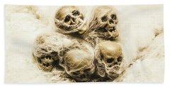Creepy Skulls Covered In Spiderwebs Beach Towel