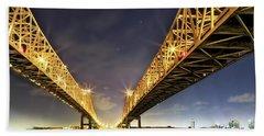 Crescent City Bridge In New Orleans Beach Sheet