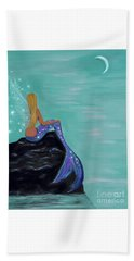 Beach Towel featuring the painting Crescent Mermaid Moon Fairy by Leslie Allen