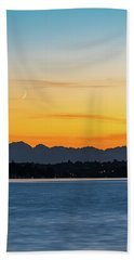 Crescent Moon Sunset Beach Towel