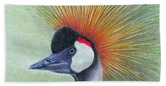 Beach Towel featuring the painting Crested Crane by Phyllis Howard