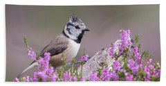 Crested Tit In Heather Beach Towel
