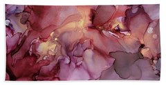 Crimson And Gold Abstract Ink Painting Beach Towel