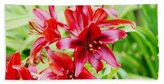 Crimson Lilies Beach Towel