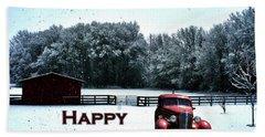 Crimson Winter Xmas Card Beach Sheet