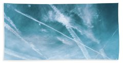 Beach Towel featuring the photograph Criss-cross Sky by Colleen Kammerer