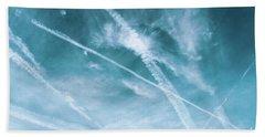 Beach Sheet featuring the photograph Criss-cross Sky by Colleen Kammerer