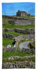 Beach Towel featuring the photograph Criss-crossed Stone Walls Of Inisheer by James Truett