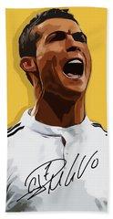 Cristiano Ronaldo Cr7 Beach Towel by Semih Yurdabak