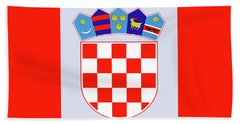 Beach Sheet featuring the drawing Croatia Coat Of Arms by Movie Poster Prints