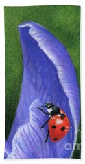 Crocus And Ladybug Detail Beach Towel