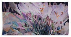Beach Towel featuring the painting Crocuses by Mindy Newman