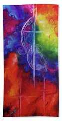 Beach Towel featuring the painting Cross Of  Promise by Karen Kennedy Chatham