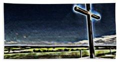 Cross On The Hill Beach Sheet by Douglas Barnard
