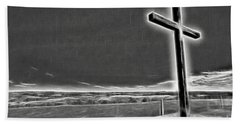 Cross On The Hill V2 Beach Sheet by Douglas Barnard