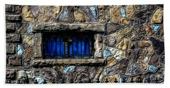 Beach Towel featuring the photograph Cross Stained Glass Window by Brenda Bostic
