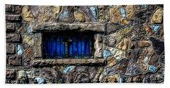 Cross Stained Glass Window Beach Towel by Brenda Bostic