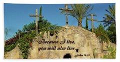 Crosses And Resurrection Beach Towel