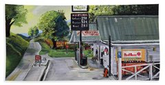 Beach Towel featuring the painting Crossroads Grocery - Elijay, Ga - Old Gas And Grocery Store by Jan Dappen