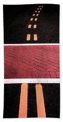 Crosswalk Conversion Of Traffic Lines Beach Towel