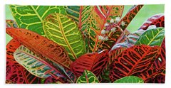 Colorful Croton Bloom Beach Towel
