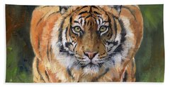Beach Towel featuring the painting Crouching Tiger by David Stribbling