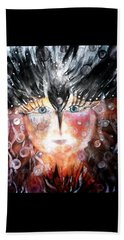 Beach Towel featuring the painting Crow Child by 'REA' Gallery