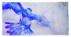 Beach Towel featuring the photograph Crow In Flight by Theresa Tahara