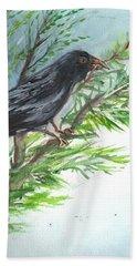 Beach Sheet featuring the painting Crow by Karen Ferrand Carroll