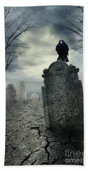 Crow On The Tombstone Beach Towel