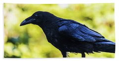 Beach Towel featuring the photograph Crow Perched by Jonny D