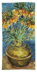 Crown Imperial Fritillaries In A Copper Vase Beach Towel