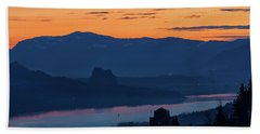Crown Point And Beacon Rock At Dawn Beach Towel