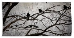 Crows At Midnight Beach Towel by Angie Rea