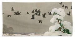 Crows In Winter Beach Towel by Newell Convers Wyeth