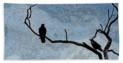 Crows On A Branch Beach Towel by Sandra Church
