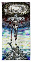 Beach Towel featuring the painting Crucifixion Scene by Dave Luebbert