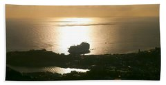 Cruise Ship At Sunset Beach Towel