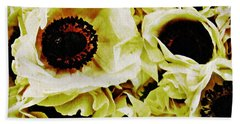 Beach Towel featuring the photograph Crumpled White Poppies by Sarah Loft