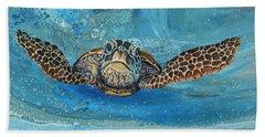 Beach Towel featuring the painting Crush The Honu by Darice Machel McGuire