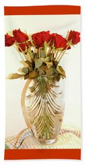Beach Sheet featuring the photograph Crystal And Red Roses by Margie Avellino