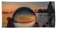 Crystal Ball On Chicago's Lakefront At Sunrise Beach Towel