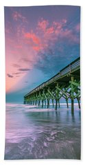 Beach Towel featuring the photograph Crystal Beach Pier Sunset In North Carolina by Ranjay Mitra