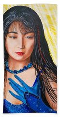 Crystal Blue China Girl Beach Towel by Sigrid Tune