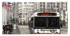 Cta Bus On Michigan Avenue Beach Towel