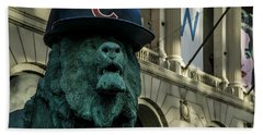 Cub Hat On Art Institute Lion Telephoto Beach Towel